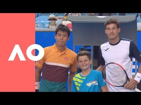 Pablo Carreno Busta And Kei Nishikori On-court Warm Up (4R) | Australian Open 2019