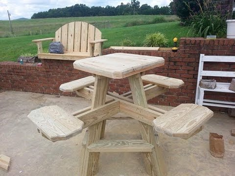 Bar stool picnic table build part 2. - YouTube