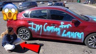 SPRAY PAINTING GIRLFRIEND CAR PRANK !!!!!