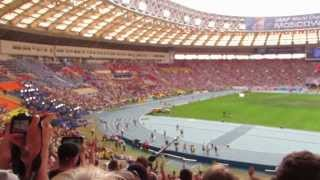 Чемпионат мира по лёгкой атлетике 2013 г. Москва. Усейн Болт. 100 м. 200 м. Эстафета(Это видео снято 11, 17 и 18 августа 2013 г. на стадионе