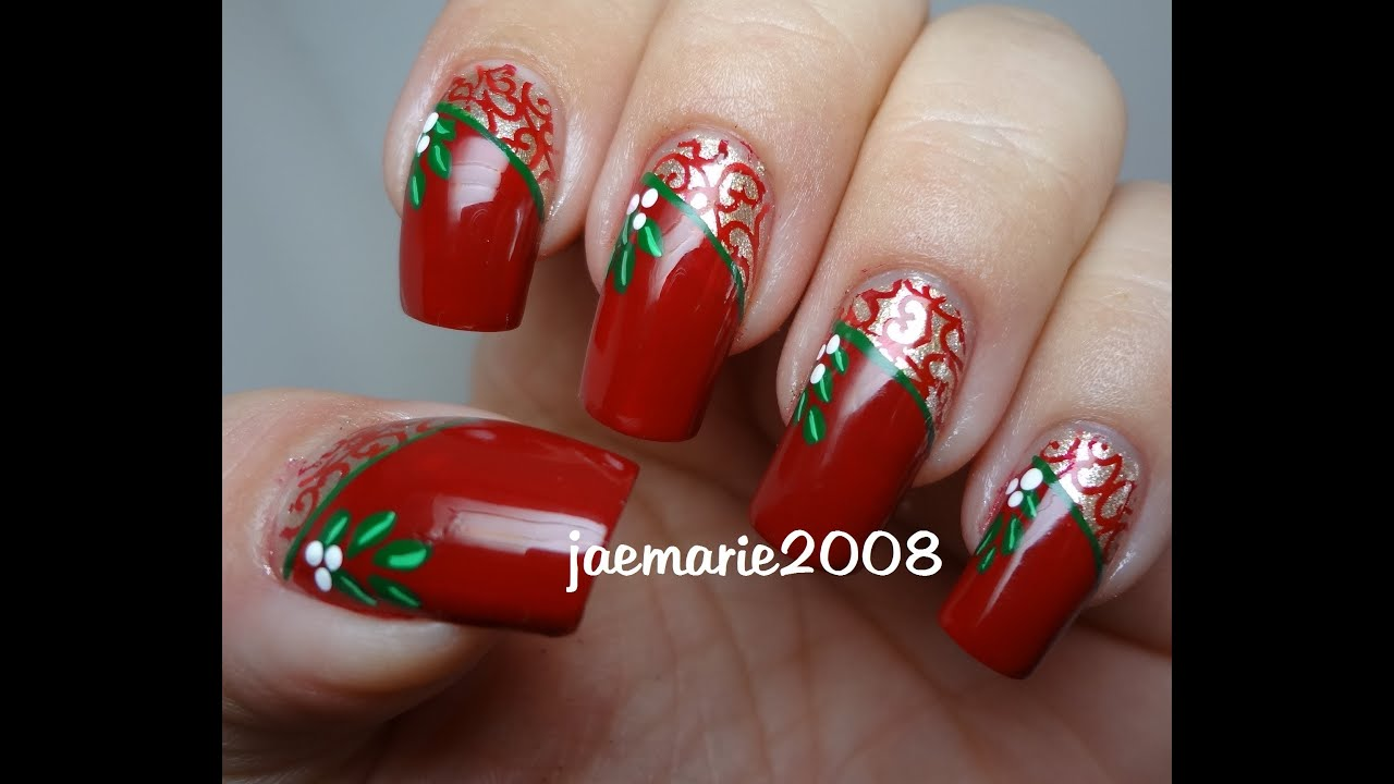 Vintage Mistletoe-Christmas Nail Design - YouTube