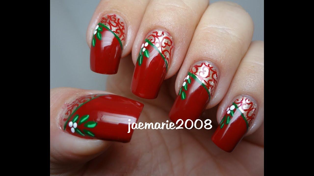 vintage mistletoe-christmas nail