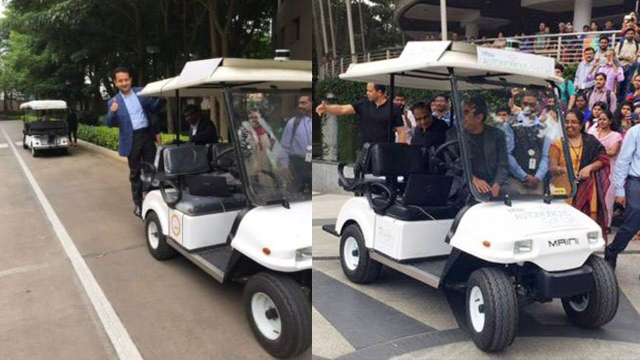 Infosys ceo vishal sikka launch in driverless cart in bengaluru