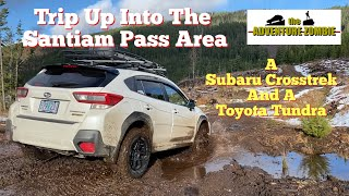 I go up Santiam Pass in my Subaru Crosstrek, With My Buddy In His Toyota Tundra