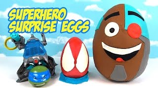 Superhero Play-doh Surprise Eggs with Teen Titans Go Toys Justice League and Spiderman Toys