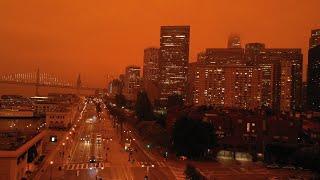 Watch San Francisco Bay Area's dark, orange skies as California wildfires rage nearby