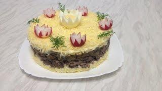 Печеночный Салат с Грибами, Сыром и Майонезом
