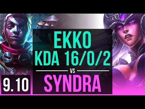 EKKO Vs SYNDRA (MID) | KDA 16/0/2, 2 Early Solo Kills, Legendary | NA Grandmaster | V9.10