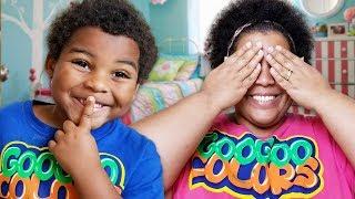 GOO GOO GAGA AND MOM PLAY HIDE N SEEK WITH MAGIC CLOAK!
