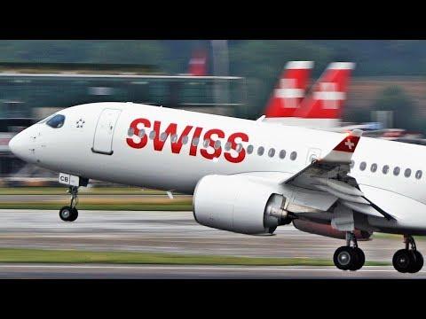 Steep Climb! NEW Swiss CSeries CS300 out of Zurich Kloten Airport