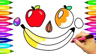 Fruit face Coloring Pages | Learn Colors and Numbers for Kids Coloring Book