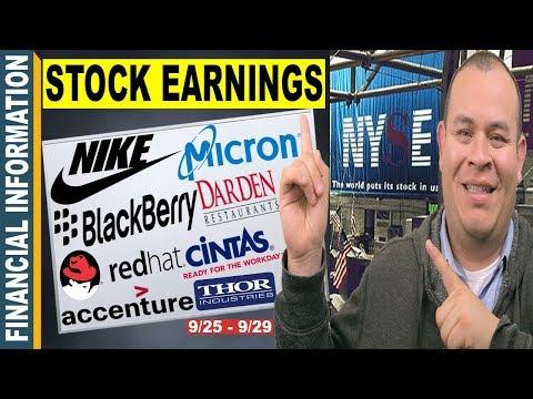 September Stocks Earnings📊| Nike, Micron, BlackBerry, Red Hat, Cintas, Thor, Darden | 25 – 29📆