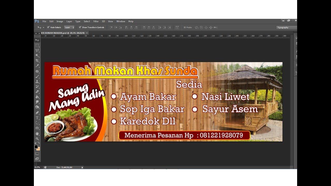 cara desain spanduk restoran dengan photoshop - YouTube