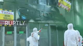 France: Activists spray black paint over oil giant Total's Paris HQ