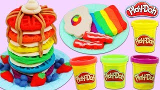 DIY Play Doh Rainbow Breakfast with Waffles, Toast, Eggs, & Bacon!