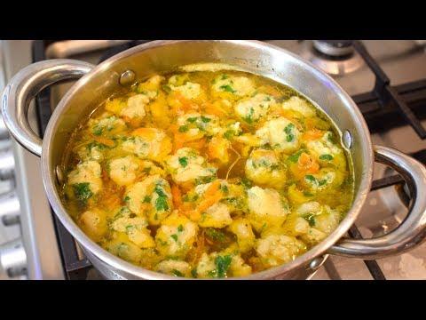 Галушки рецепт. Суп с галушками. Суп с клецками.   Мамины рецепты