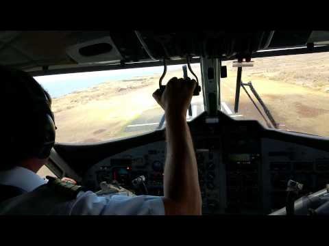Twin Otter landing on a windy day in the Marquesas