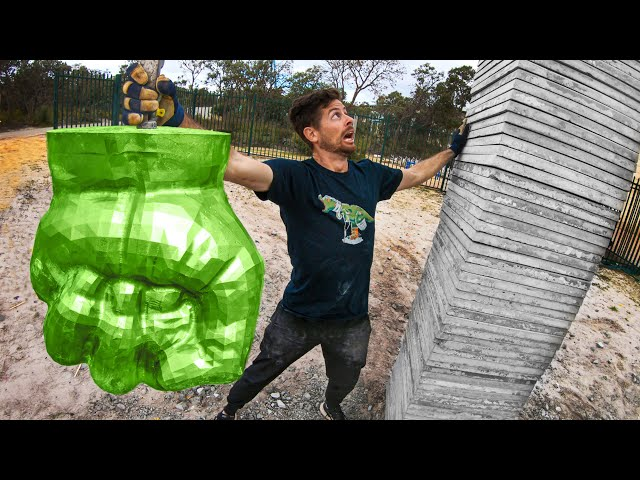 SOLID STEEL Hulk Fist (660lbs) Vs. CONCRETE Stack! 45m Tower Drop