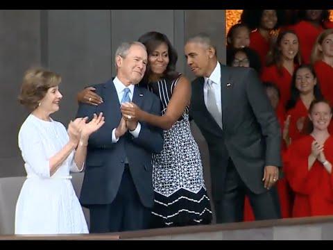 Michelle Obama Hugs George W  Bush