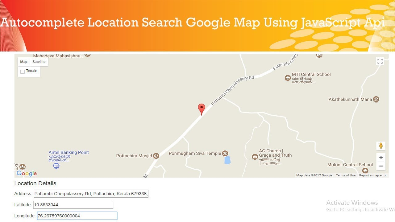 autocomplete location search Using google Maps JavaScript Api || smarty php