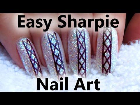 Easy Sharpie Diamond Nail Art - DIY Nail Sticker Tutorial