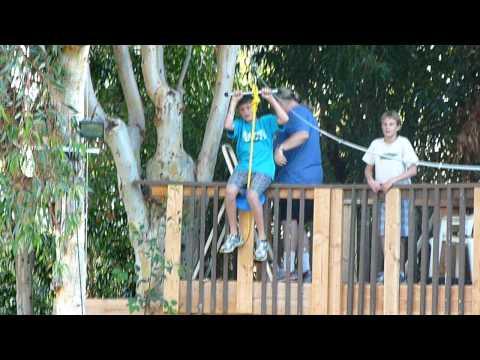 Backyard Zip Line from treehouse
