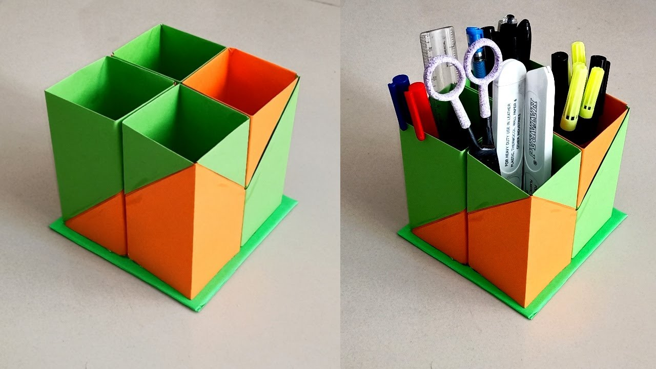 How To Make Pen Stand || Origami Pen Holder || Paper Pen Stand