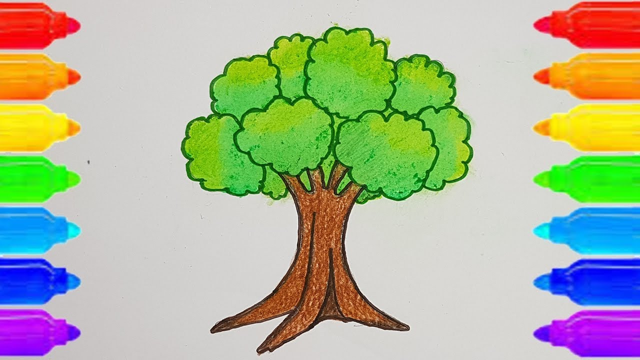 How to Draw a Tree for kids step by step. ( very easy ...