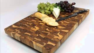 Madeira Canary Teak End-grain Chop Block ; Teak Cutting Board, Kitchen Cutting Boards