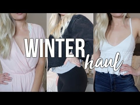 TRY ON WINTER HAUL   Free People, Urban Outfitters, American Eagle, + super inexpensive makeup!