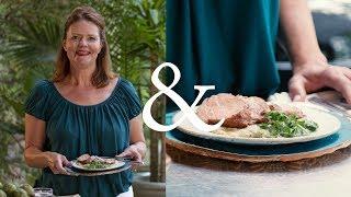 Grilled Pork Tenderloin with Charred Tomatillo Salsa | F&W Cooks