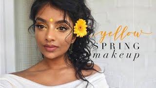 Fresh Glowy Spring Yellow Makeup | Indian/Tamil GRWM | WOC Friendly