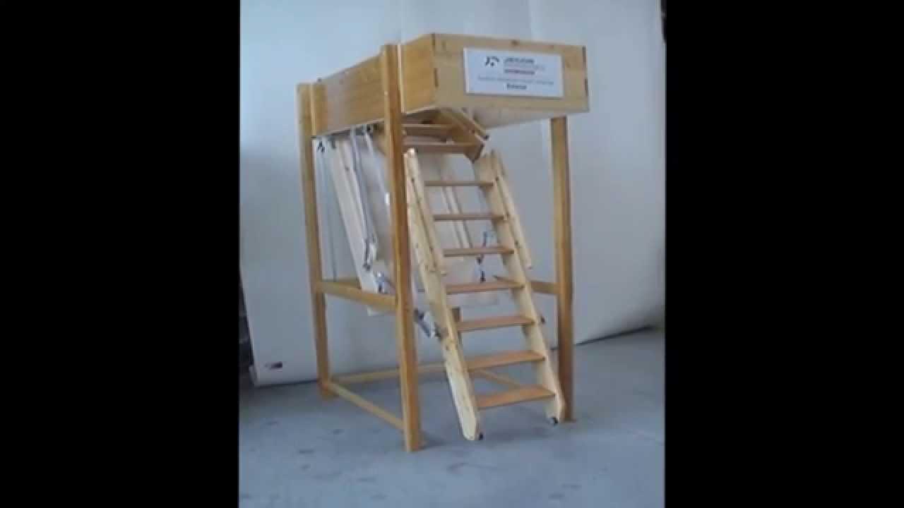 Estalux de elektrisch bedienbare houten zoldertrap - YouTube