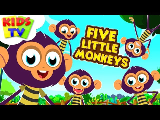 Five Little Monkeys |  PreeBeez Cartoons | Nursery Rhymes For Children - Kids Tv