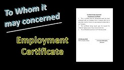 How to type employment certificate in MS word file   To whom it may concerned