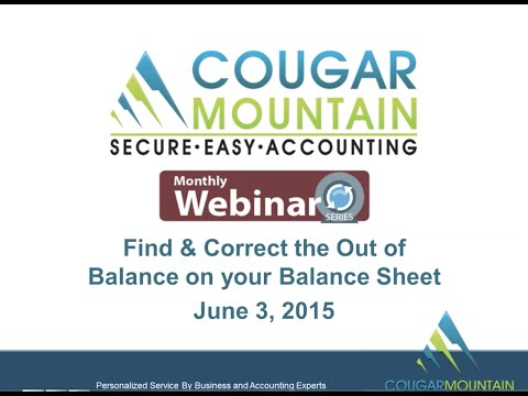 Correcting Your Balance Sheet