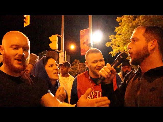 Angry drunk people post-Raptors game in Toronto
