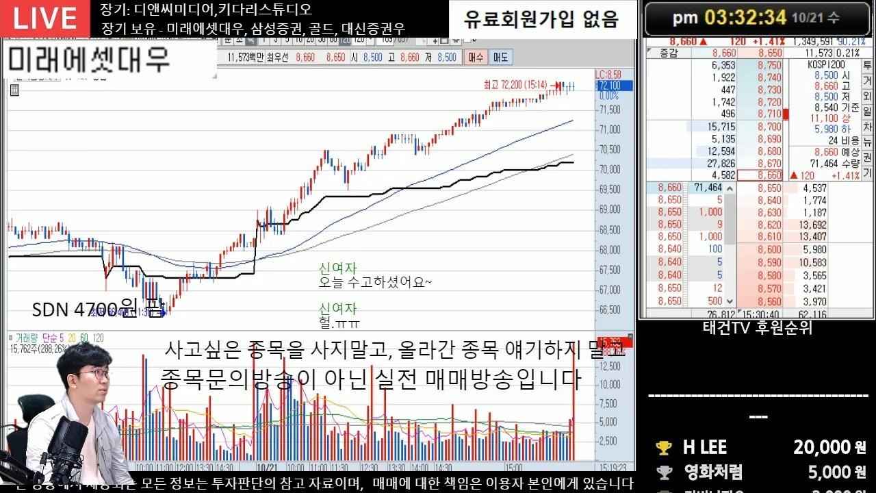 10.21 주식실시간 무료방송 - 케이피엠테크 매수