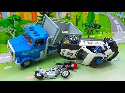 Видео с полицейскими машинами и грузовиком  - Нарушитель!  полицейская погоня - новинки.
