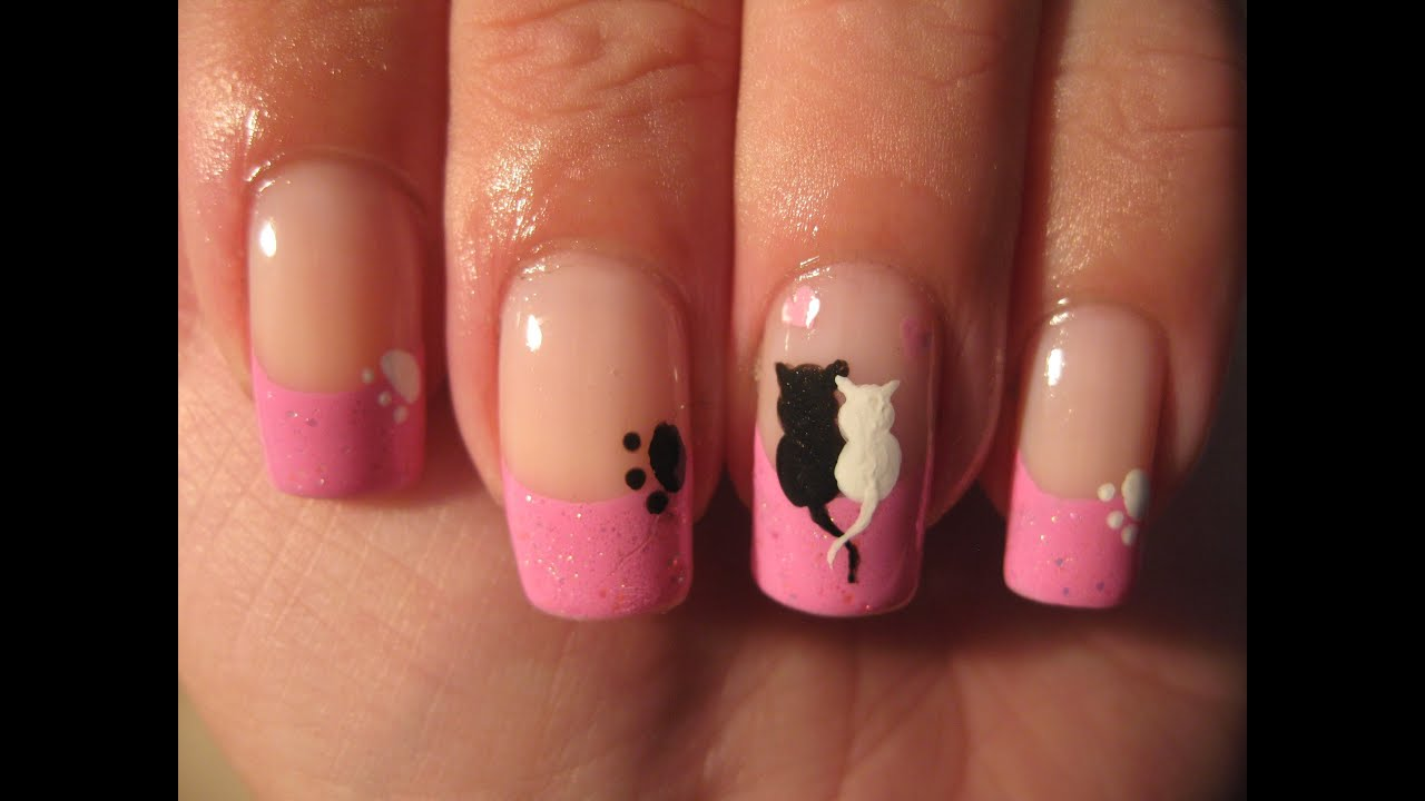 Nail art: Cute cats love - YouTube