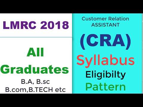 LMRC 2018 CRA Syllabus, Eligibility, Pattern for ALL GRADUATES