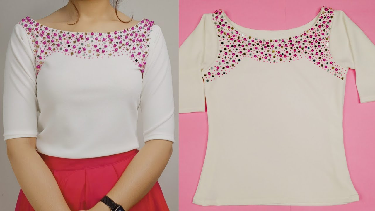 Party wear top cutting and stitching/ latest top cutting and stitching / hand embroidery / hand work