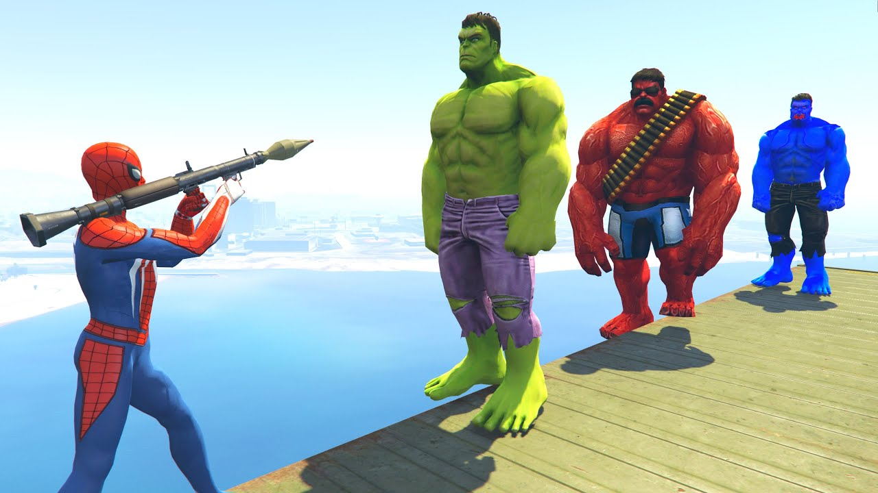 GTA 5 Crazy Ragdolls Spiderman VS Green Hulk VS Red Hulk ...
