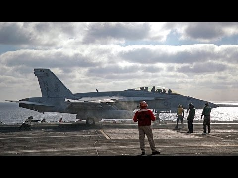 F/A-18 take-offs from the USS Carl Vinson