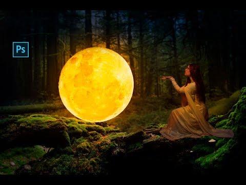 Girl with Moon Photo manipulation scene effects in photoshop | Photoshop Tutorials |