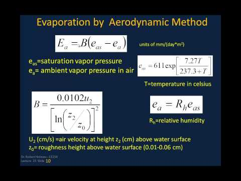 Lecture23--Evaporation in Hydrology