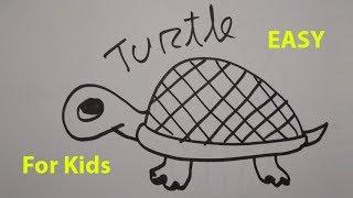 Wie zeichnet man eine Comic-Schildkröte - Einfach Schritt für Schritt Zeichnen für Kinder und Anfänger
