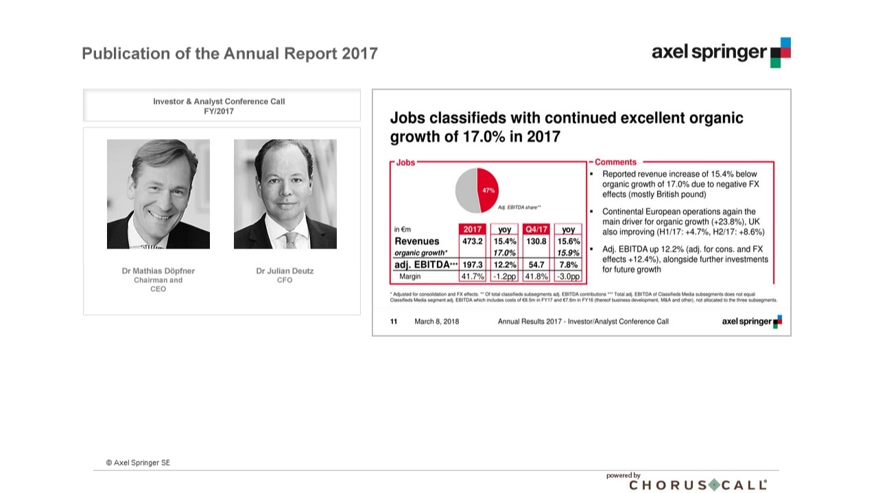Publication of the Annual Report 2017 - Axel Springer SE