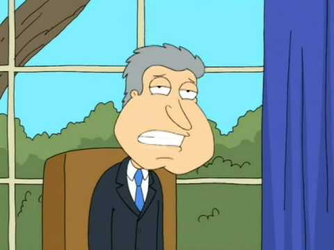 Quagmire mimics the Bill Clinton intern scandal