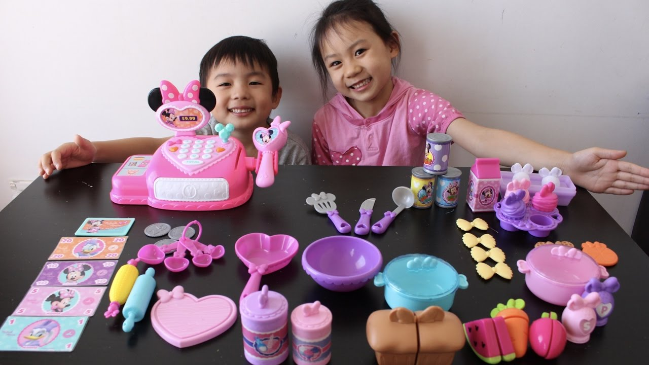 Minnie Mouse Kitchen Set Cash Register Toys Pretend Play Food Toys Grocery Store Cooking Toys Youtube